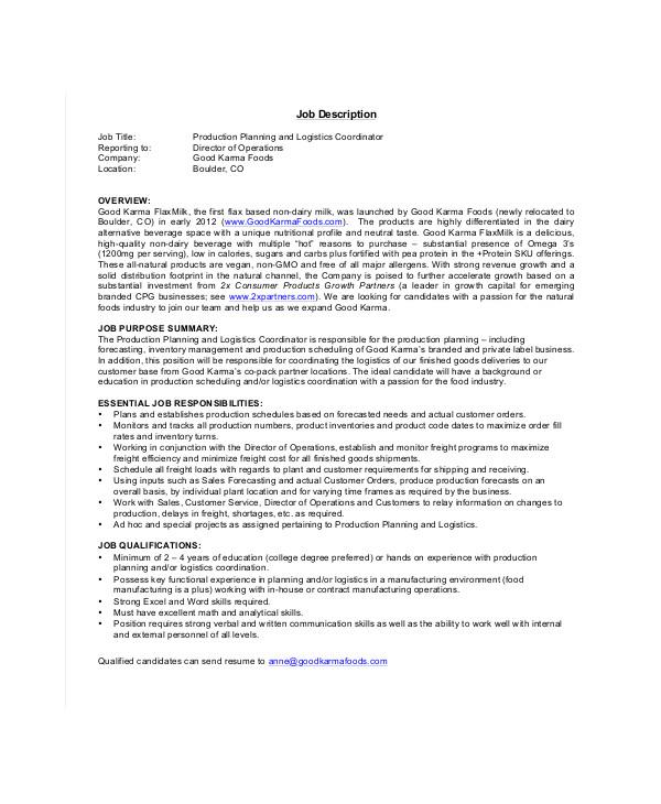 logistics coordinator resume