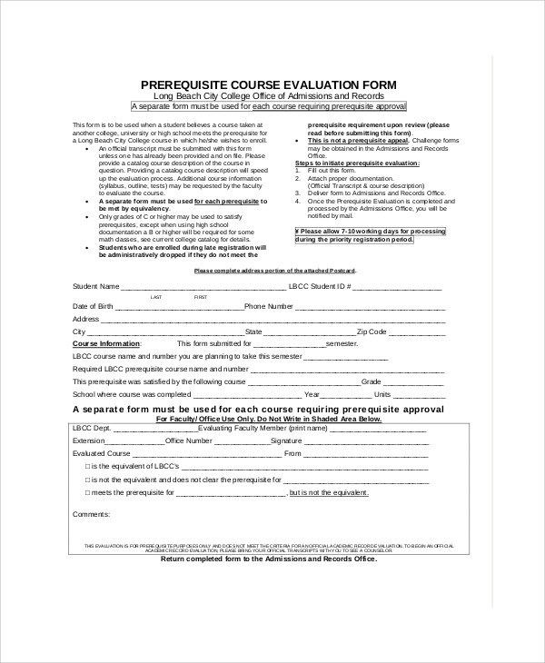 Evaluation Form ExampleSample Evaluation Forms Peer Work Group