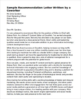 6+ Sample Recommendation Letter for Coworkers \u2013 PDF, Word Sample