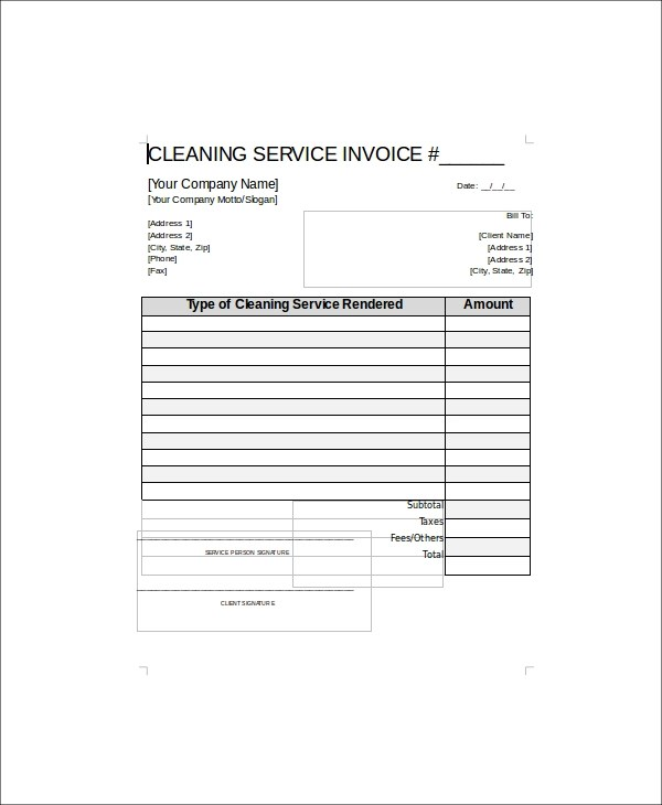 5+ Sample Cleaning Service Receipts Sample Templates