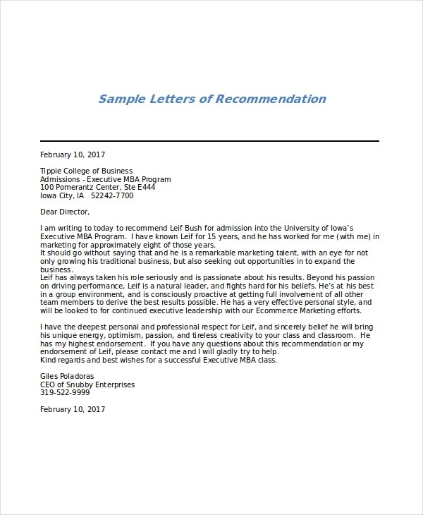 letter of recommendation for mba program - Onwebioinnovate - recommendation letter
