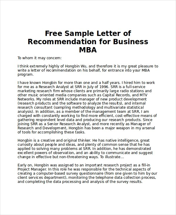 6+ Sample MBA Recommendation Letters \u2013 PDF, Word Sample Templates