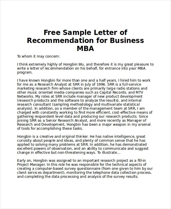example letter of recommendation for college student