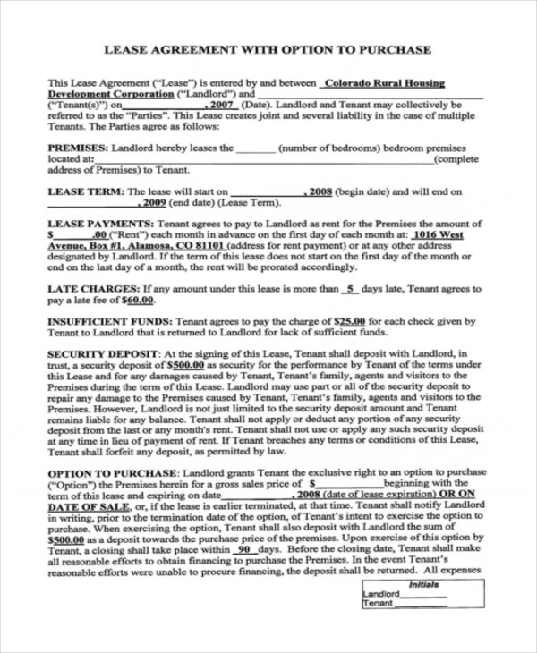 Rent-to-Own Home Contract - 7+ Examples in Word, PDF