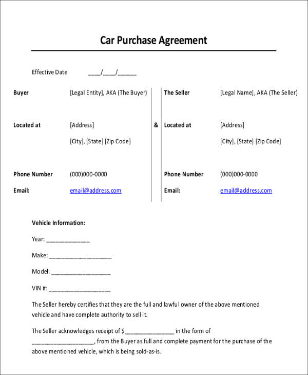 Car Payment Receipts - 9+ Examples in Word, PDF - auto purchase agreement template