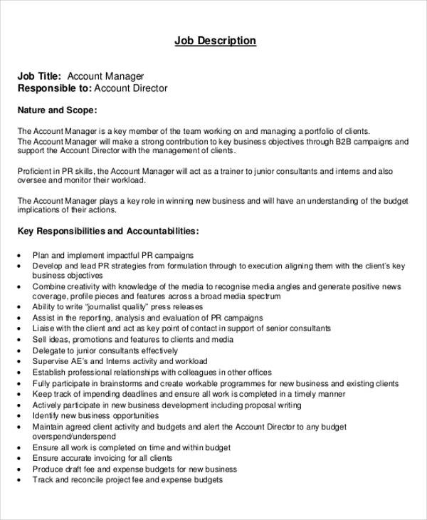 Account Management Job Description Sample - 8+ Examples in Word, PDF - account management job description