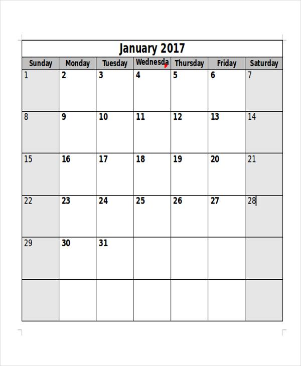 5+ Free Printable Blank Calendar Sample - Examples in Word, PDF