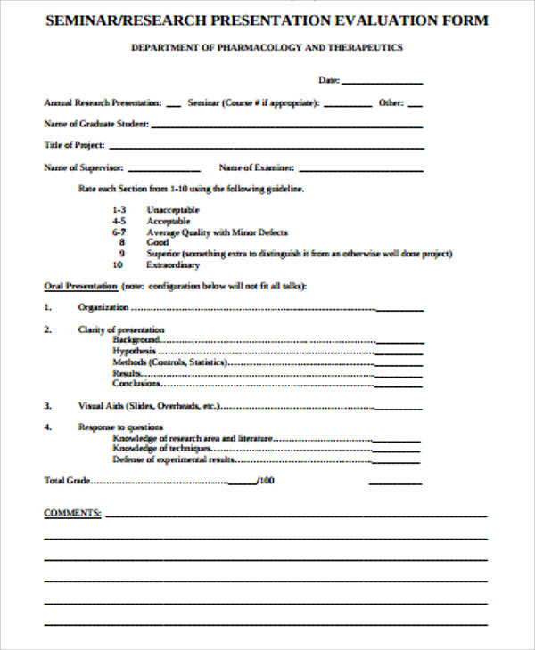 Awesome Sample Presentation Evaluation Form Example Photos