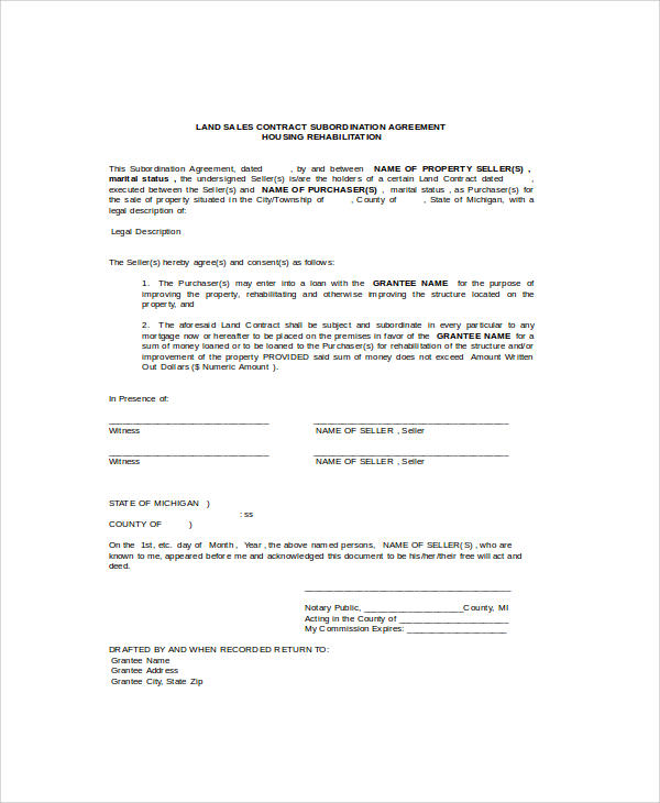 Land Contract Agreement colbro