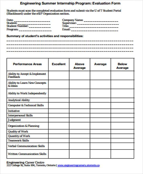 Program Evaluation Form | cvfree.pro