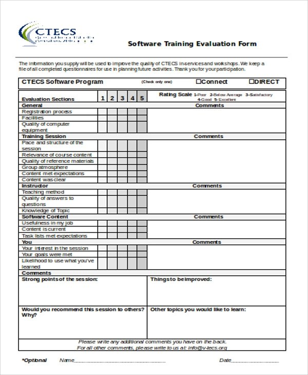 Software Evaluation Form SampleWordPerformanceEvaluationForm