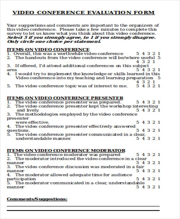 Sample Conference Evaluation Form in Word - 8+ Examples in Word - sample workshop evaluation form example