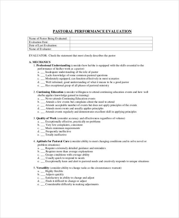 Sample Pastor Evaluation Form - 7+ Examples in Word, PDF
