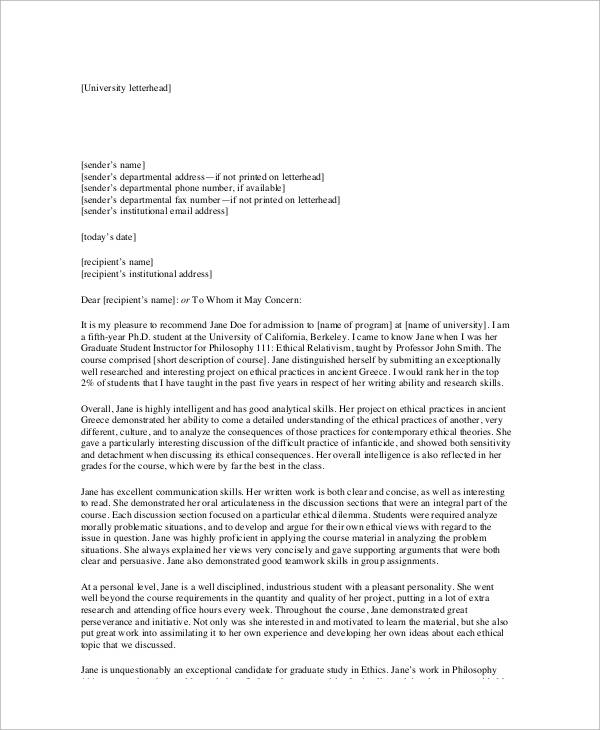 5+ Sample Academic Recommendation Letters Sample Templates