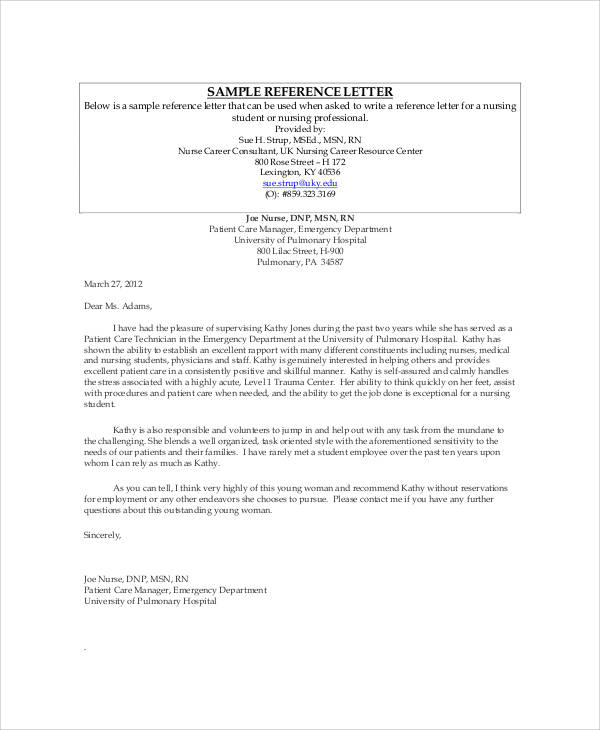 Sample Recommendation Letter For Nursing Student     Letter Simple                   cover letter introduction to recruiter Sample File Resume Letters