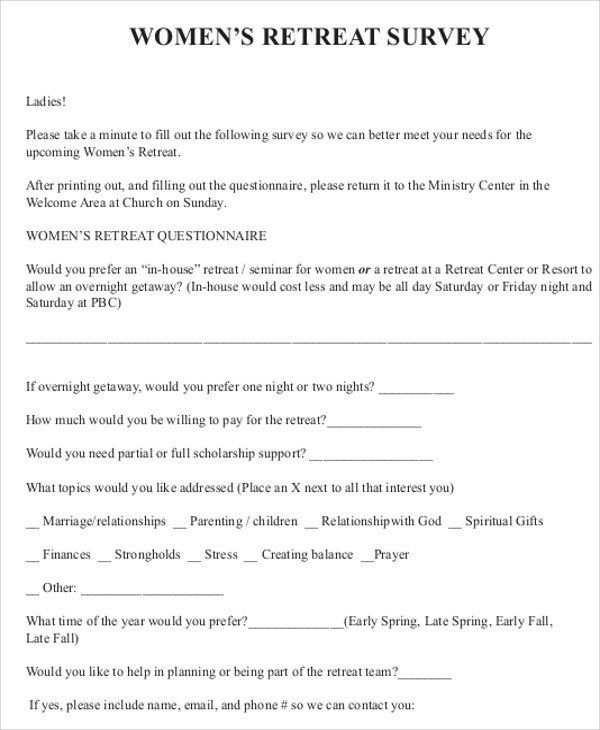 Sample Retreat Evaluation Form - 9+ Examples in Word, PDF