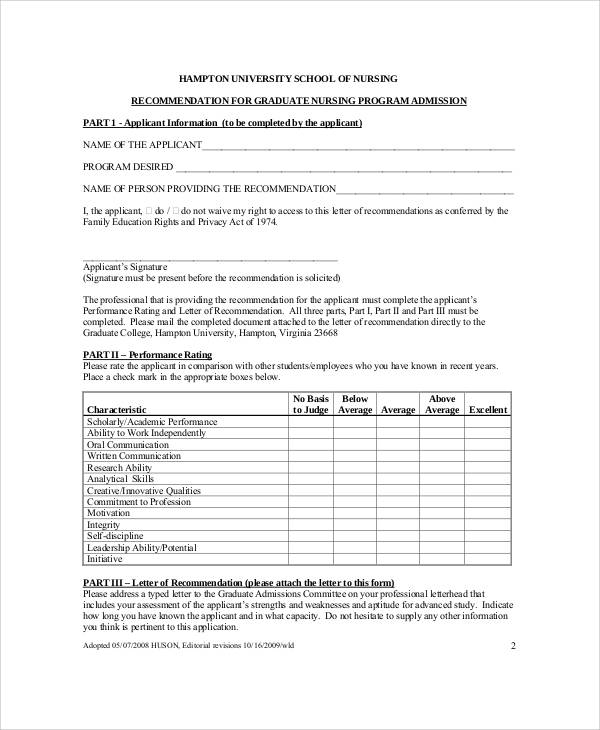 8+ Sample Nursing Recommendation Letters Sample Templates - nursing recommendation letter