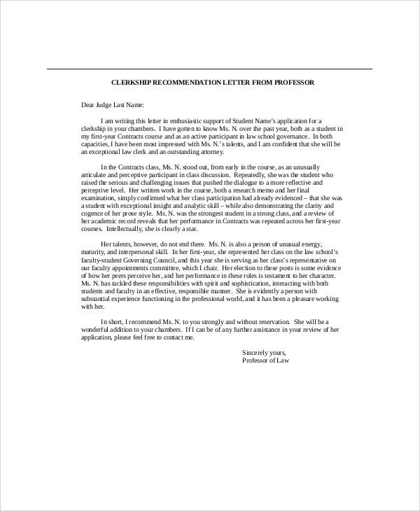 7+ Sample Recommendation Letter from Professor Sample Templates