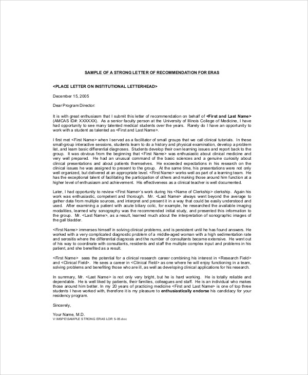 Sample Recommendation Letter from Professor - 7+ Examples in Word, PDF - medical school recommendation letter
