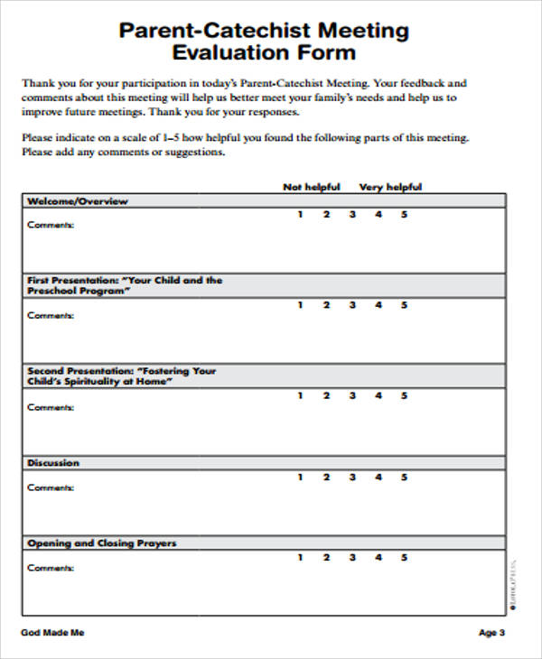 9+ Sample Meeting Evaluation Forms Sample Templates - Meeting Evaluation Form