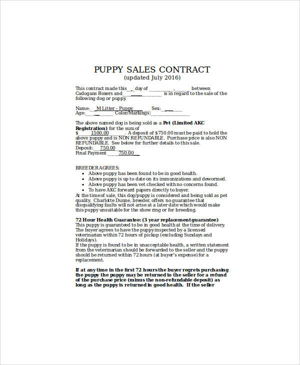 Sample Puppy Sales Contract - 9+ Examples in Word, PDF