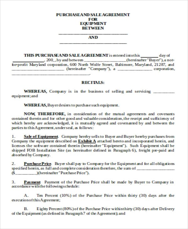 Sample Sales Agreement Contract - 10+ Examples in Word ,PDF, Google