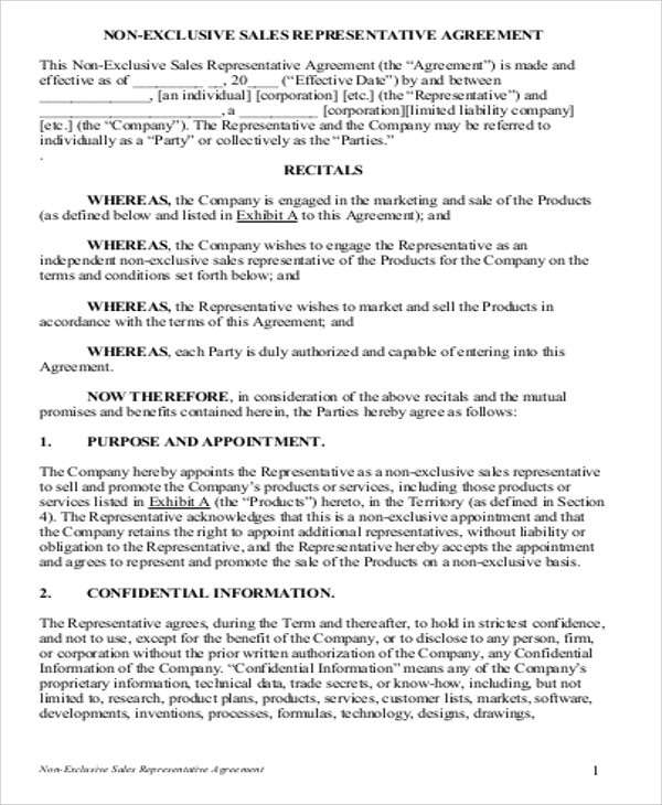 Sample Sales Agreement Contract - 9+ Examples in Word ,PDF - sales agent contracts