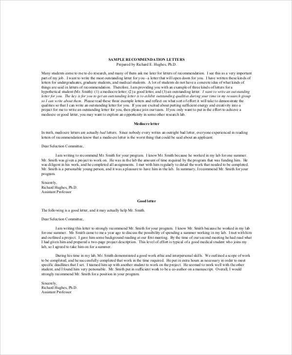 Sample Recommendation Letter for High School Student - 6+ Examples - medical school recommendation letter