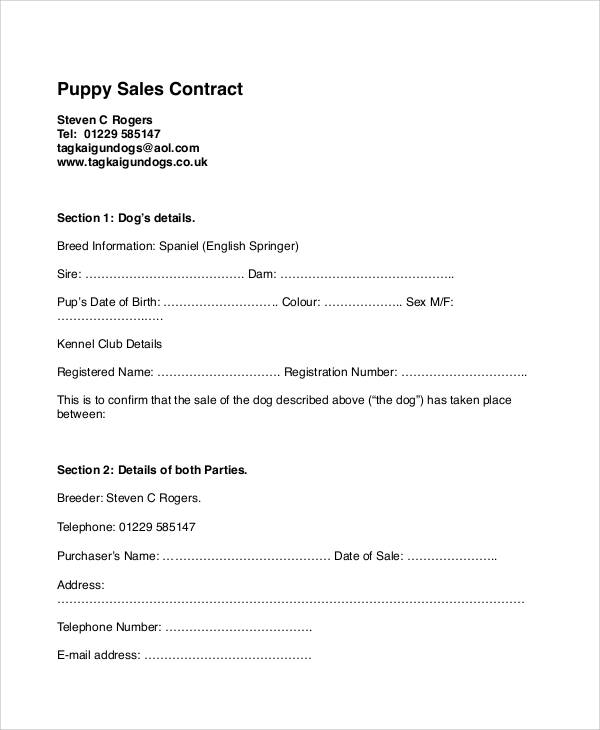Sample Puppy Sales Contract - 6+ Examples in Word, PDF - sales contract