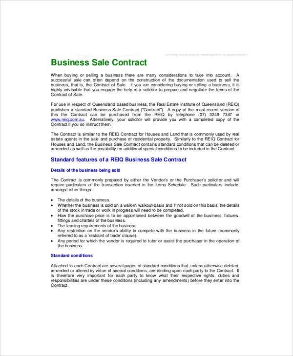 5+ Sample Business Sale Contracts Sample Templates - business sale contract template