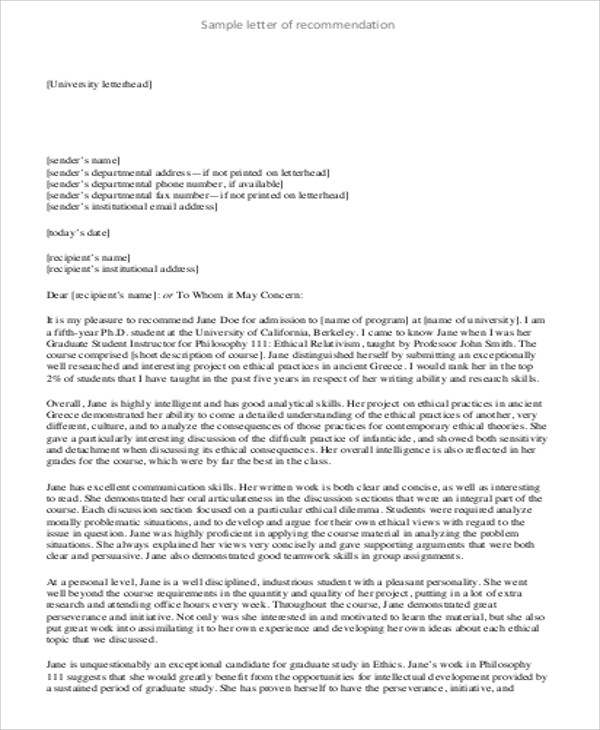 Sample Generic Letter of Recommendation - 7+ Examples in Word ,PDF