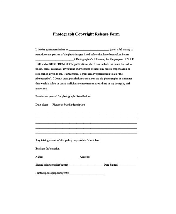 Sample Photographer Release Form - 9+ Examples in Word, PDF