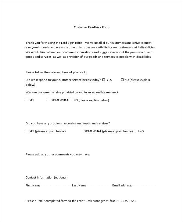 8+ Sample Customer Feedback Forms Sample Templates