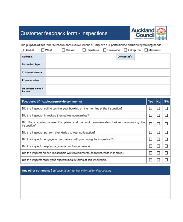 Customer Feedback Form Template | Examples Of Resume Education