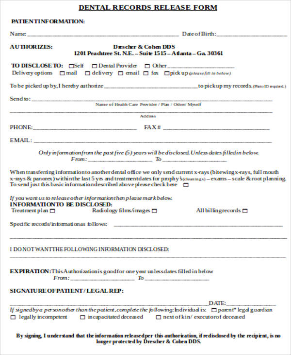 Sample Records Release Form - 9+ Examples in Word, PDF