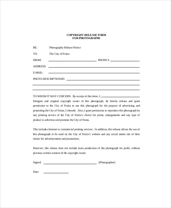 9+ Sample Photographer Release Forms Sample Templates - photography release form