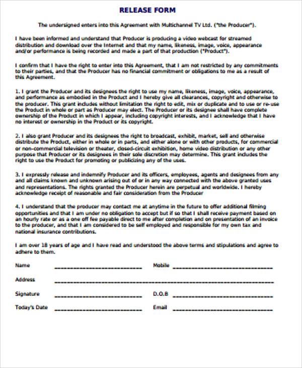 standard model release form pdf - Dolapmagnetband - sample talent release form