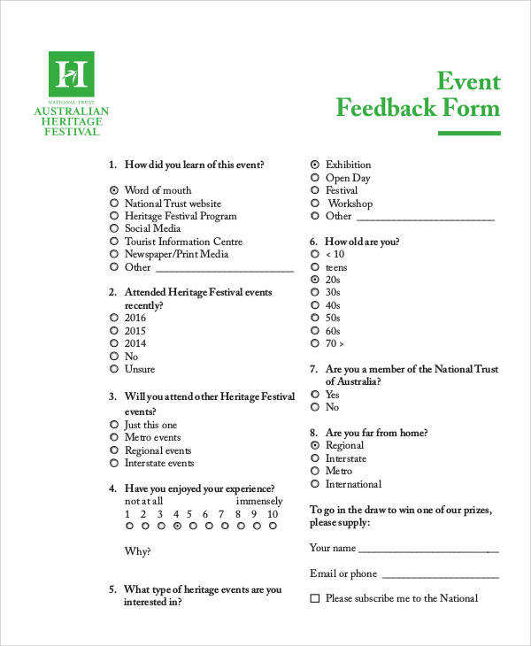 9+ Sample Event Feedback Forms Sample Templates