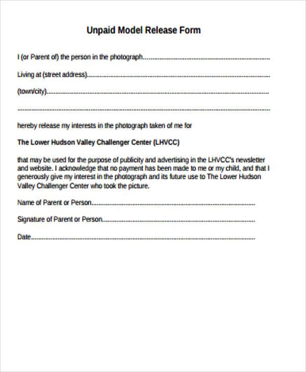 √ Publicity Release Form