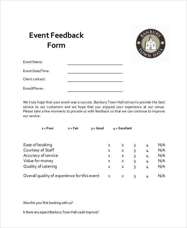 9+ Sample Event Feedback Forms Sample Templates - feedback form sample