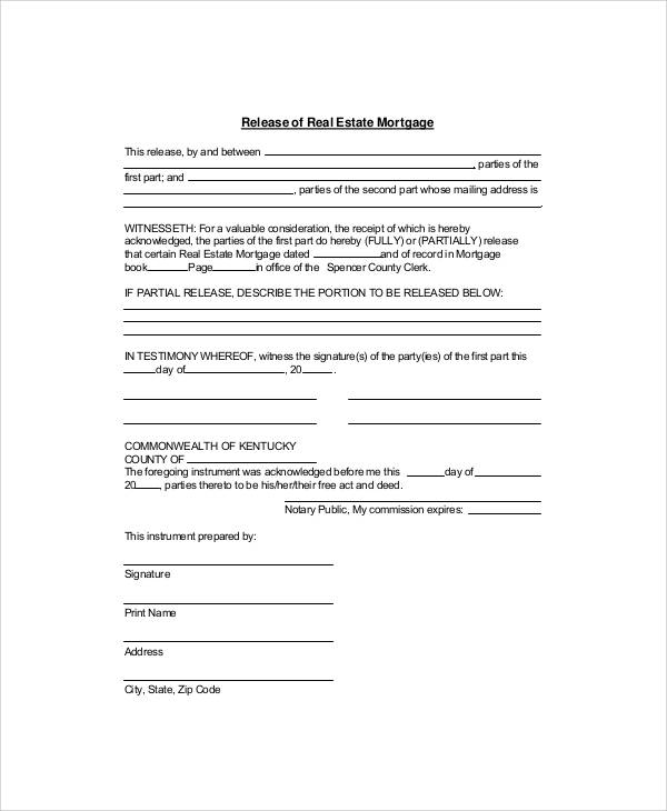 7+ Sample Mortgage Release Forms Sample Templates - satisfaction of mortgage form