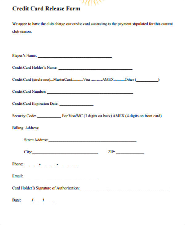 6+ Sample Credit Release Forms Sample Templates