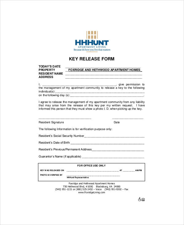 Sample Key Release Form - 11+ Examples in Word, PDF