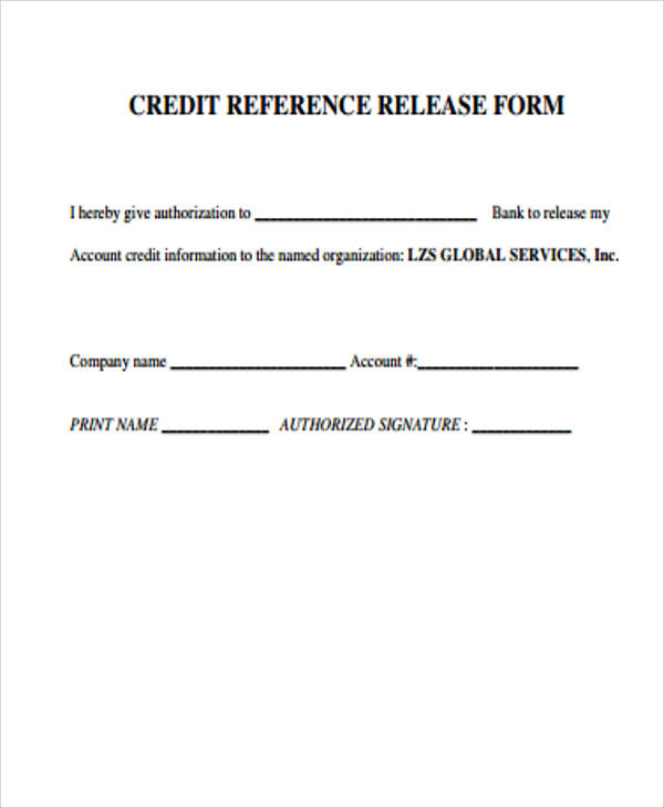 6+ Sample Credit Release Forms Sample Templates - reference release form