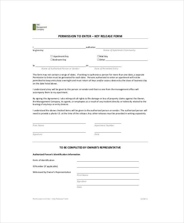 key form template - Teacheng - key release form