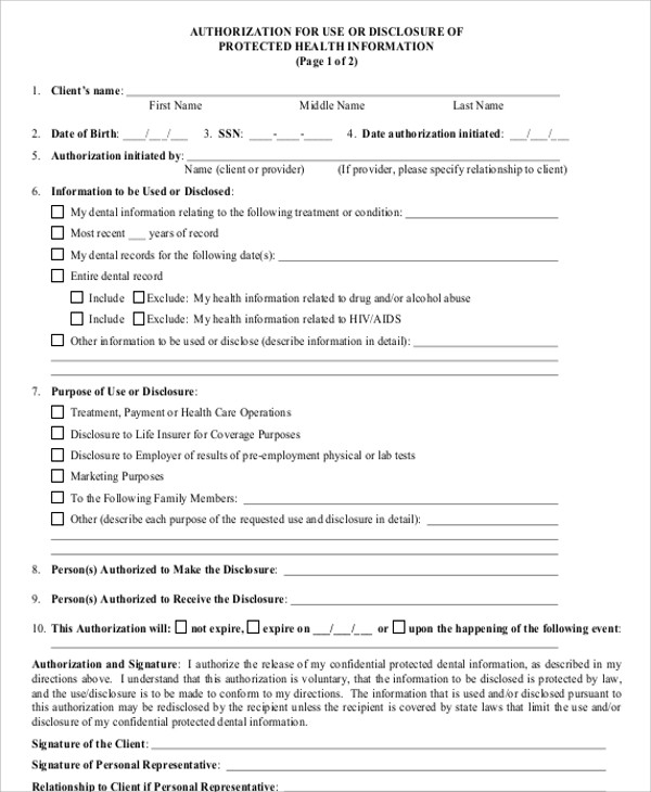 8+ Sample Dental Records Release Forms Sample Templates