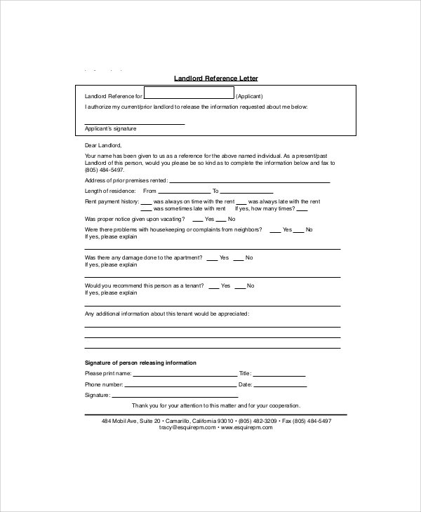 Sample Landlord Recommendation Letter - 7+ Examples in Word, PDF - landlord reference letter