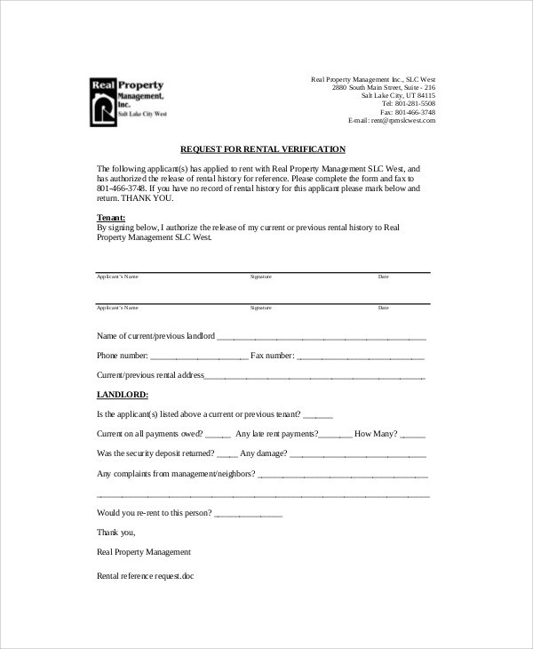 Sample Landlord Recommendation Letter - 7+ Examples in Word, PDF - rental reference letter