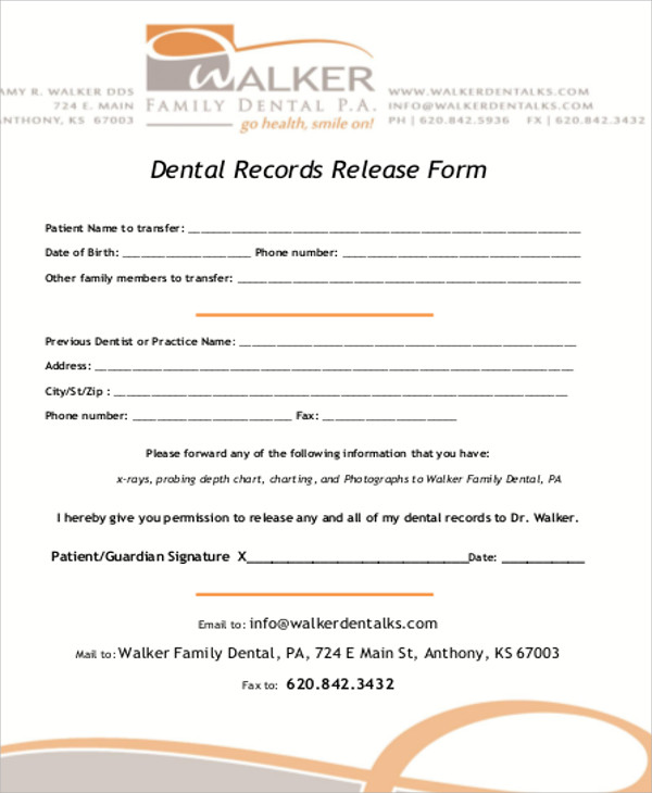 8+ Sample Dental Records Release Forms Sample Templates   Release Of Records  Letter