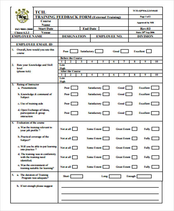 8+ Sample Training Feedback Forms Sample Templates - training feedback form